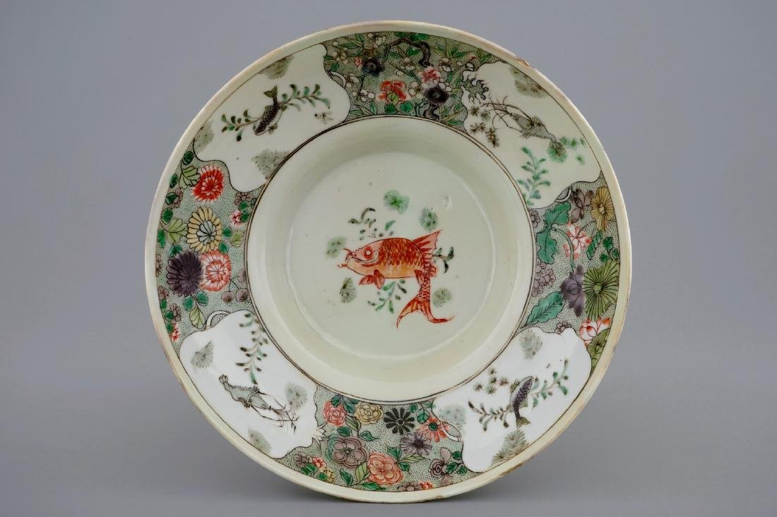 A Chinese famille verte teapot and a plate with fish, - 2
