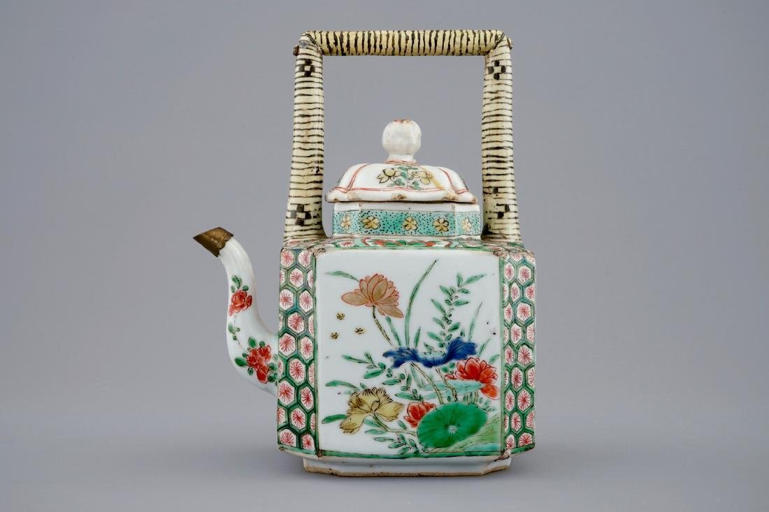 A Chinese famille verte teapot and a plate with fish, - 4