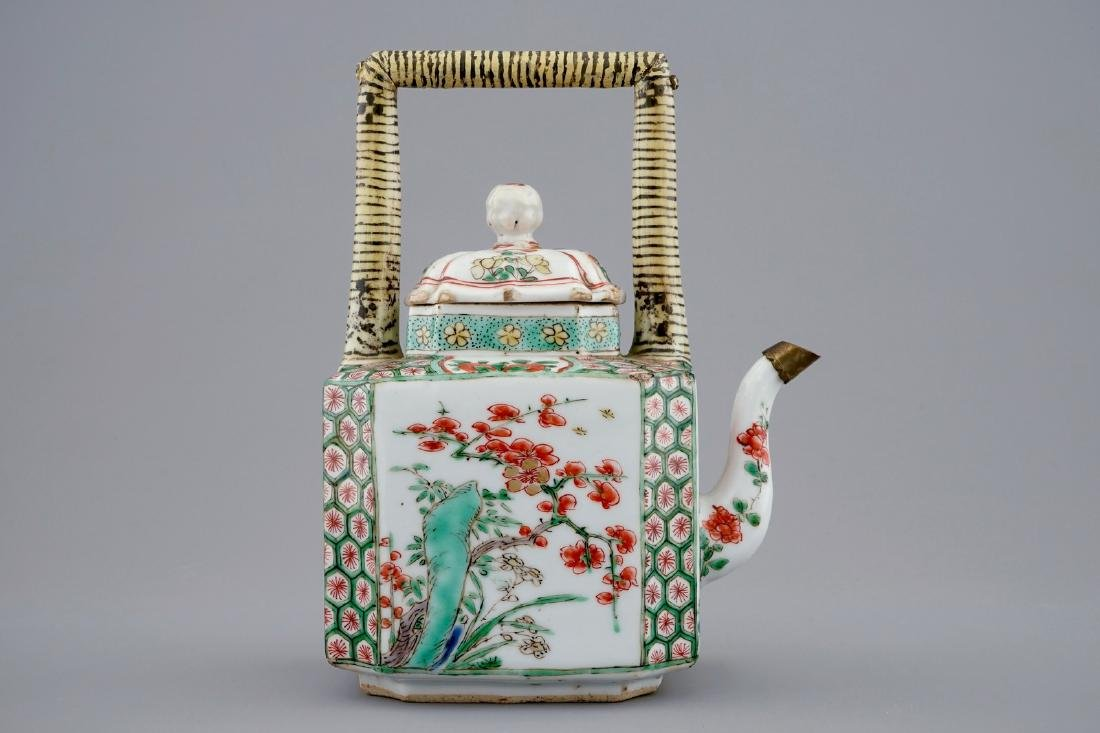A Chinese famille verte teapot and a plate with fish, - 6