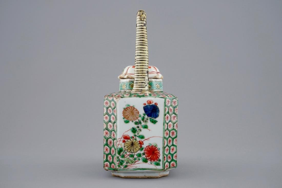 A Chinese famille verte teapot and a plate with fish, - 7