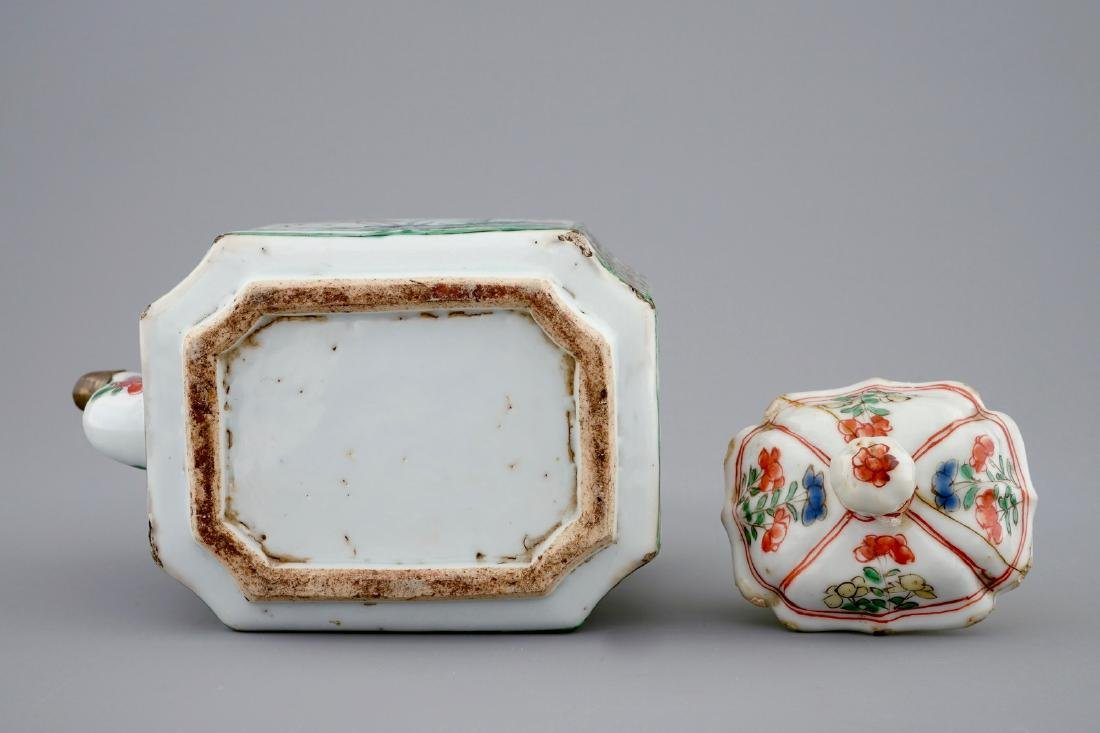 A Chinese famille verte teapot and a plate with fish, - 9