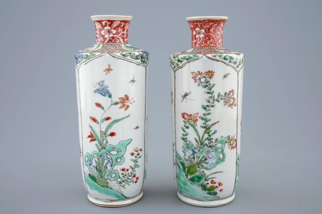 A pair of Chinese famille verte vases, Kangxi