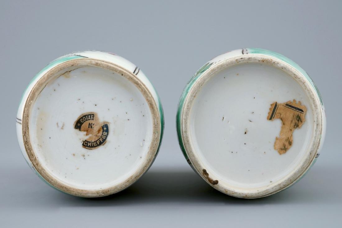 A pair of Chinese famille verte vases, Kangxi - 2