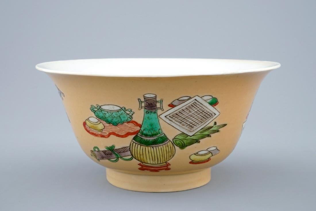 A Chinese famille verte cafŽ au lait ground bowl with