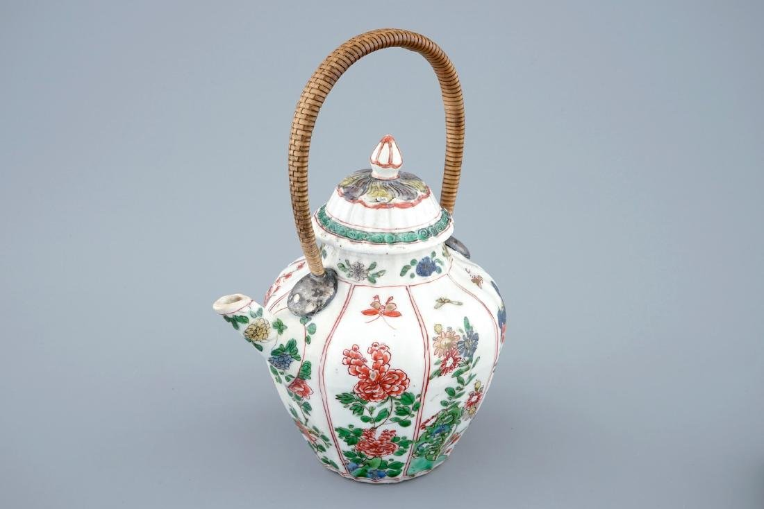 A Chinese famille verte teapot and cover with