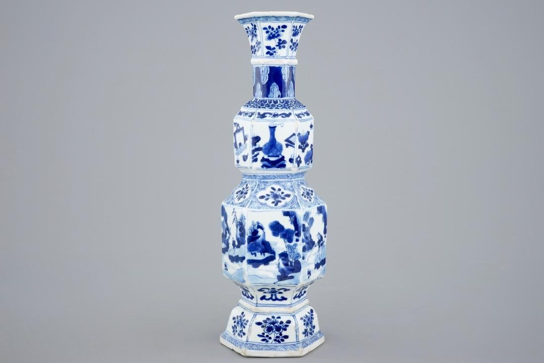 A Chinese blue and white hexagonal vase, Kangxi