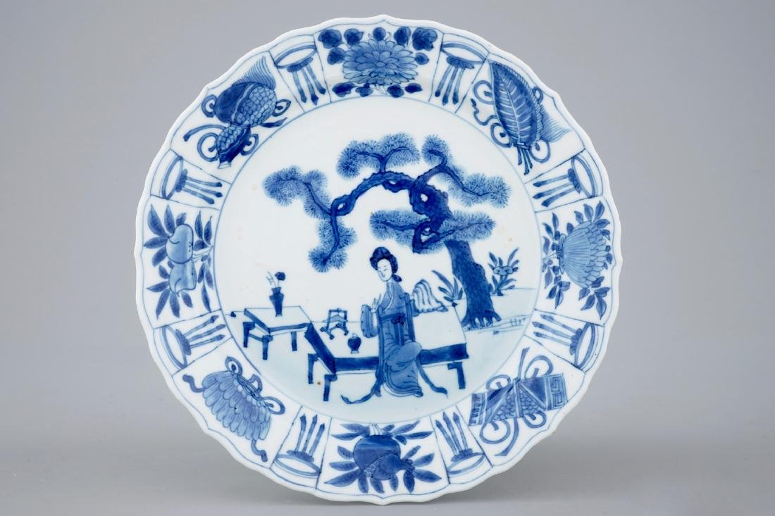 A Chinese blue and white kraak style plate, Kangxi