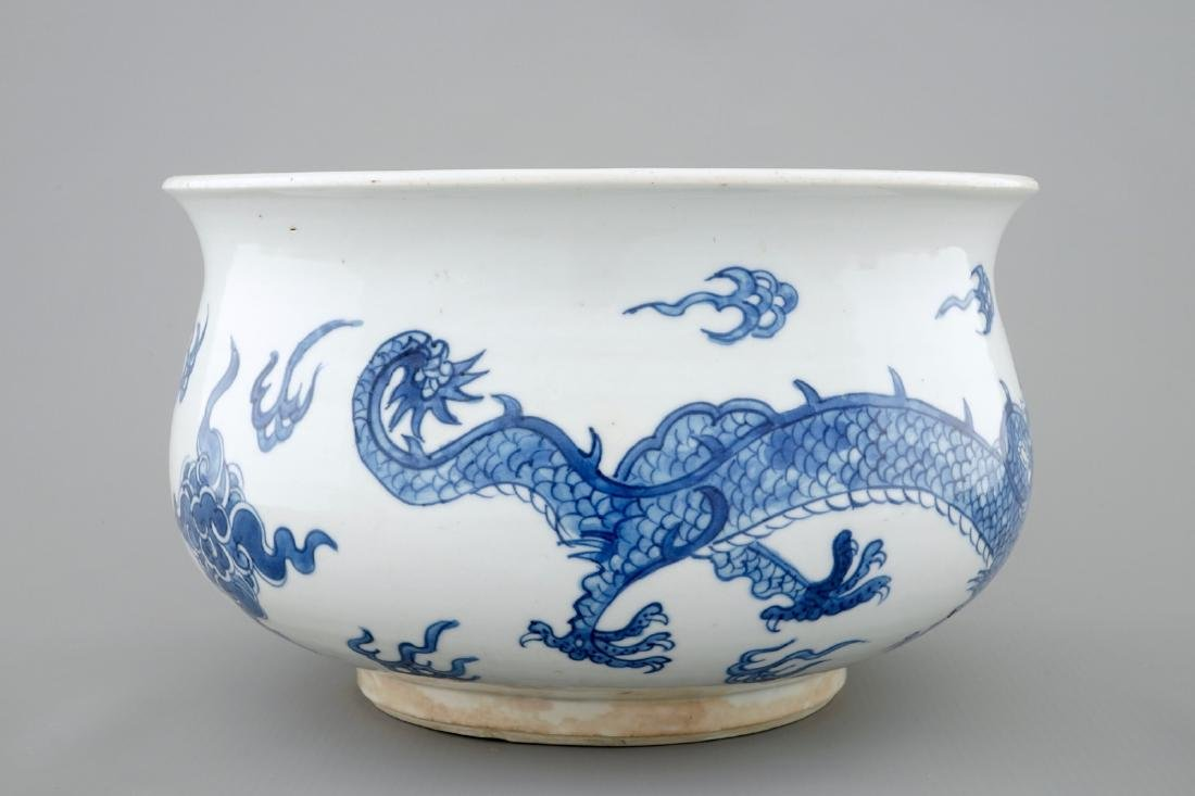 A blue and white Chinese censer with fighting dragons, - 2