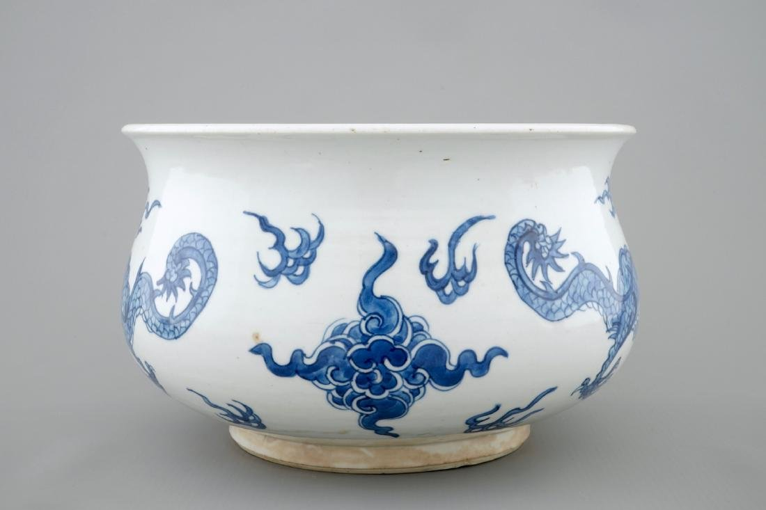 A blue and white Chinese censer with fighting dragons, - 3