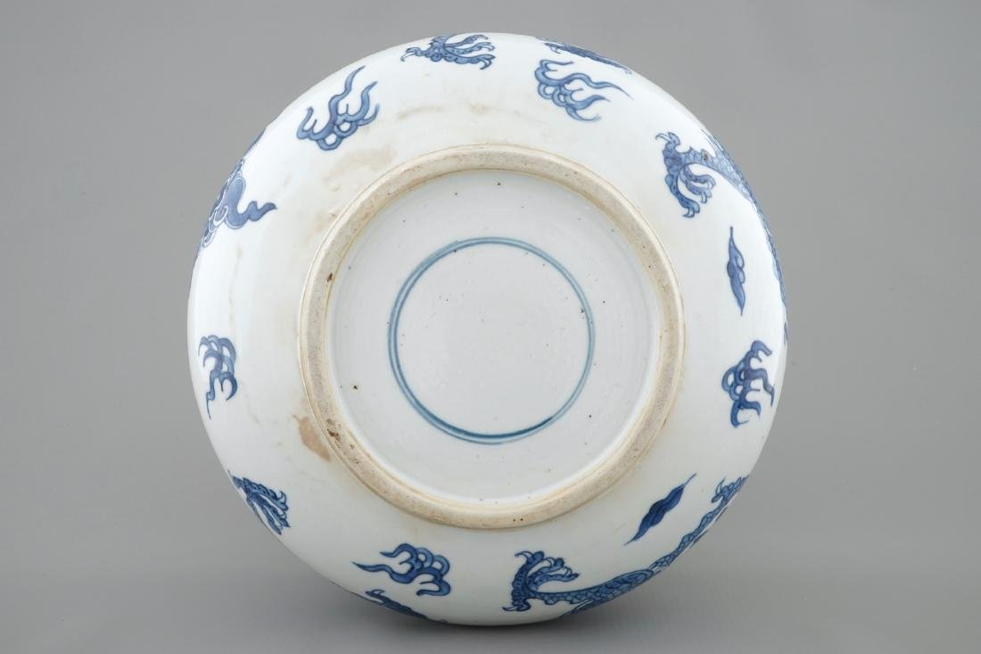 A blue and white Chinese censer with fighting dragons, - 6