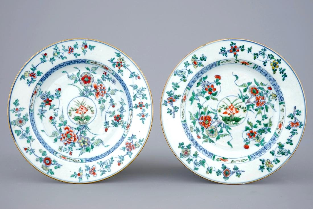 A pair of Chinese doucai porcelain plates, Kangxi