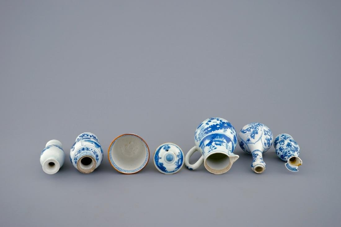 A set of 6 various blue and white Chinese vases and - 7