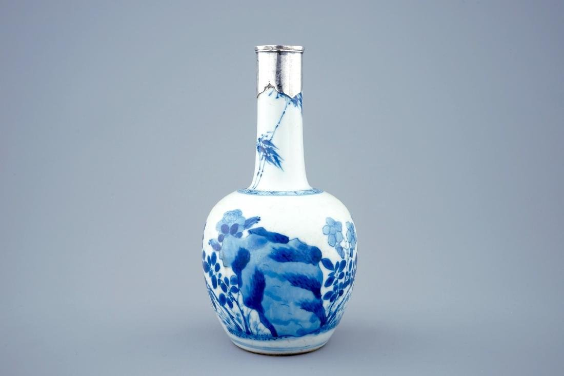 A Chinese blue and white bottle shaped vase with silver - 3
