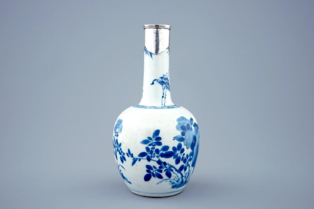 A Chinese blue and white bottle shaped vase with silver - 4