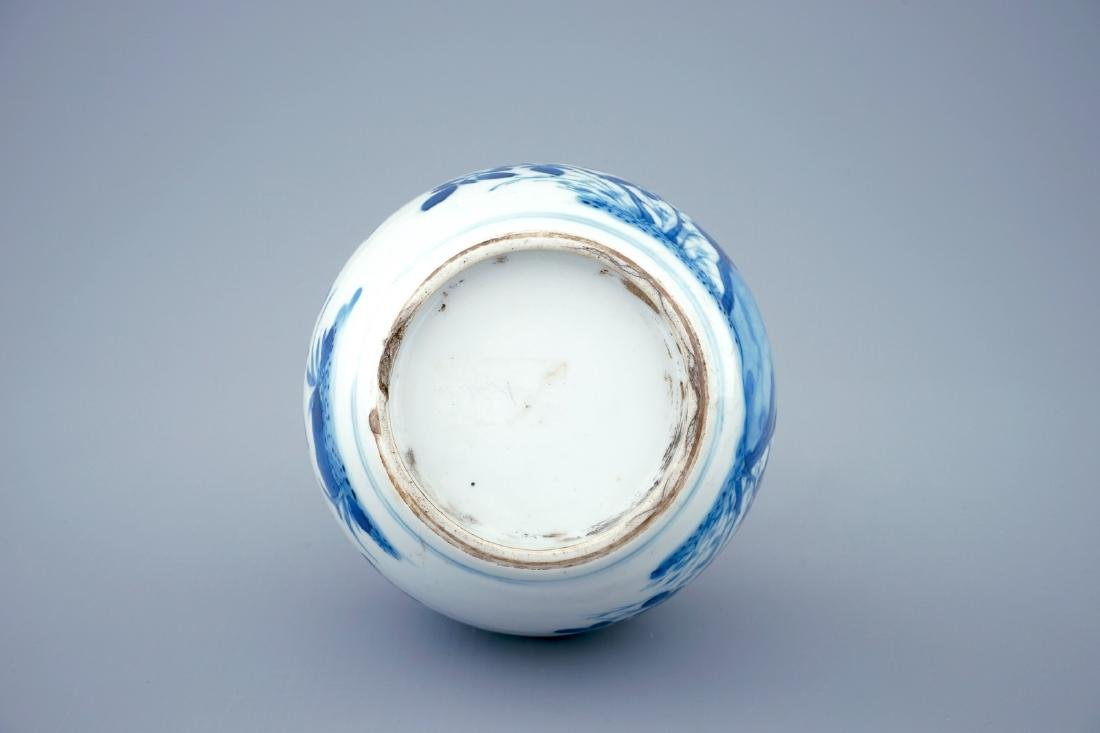 A Chinese blue and white bottle shaped vase with silver - 5