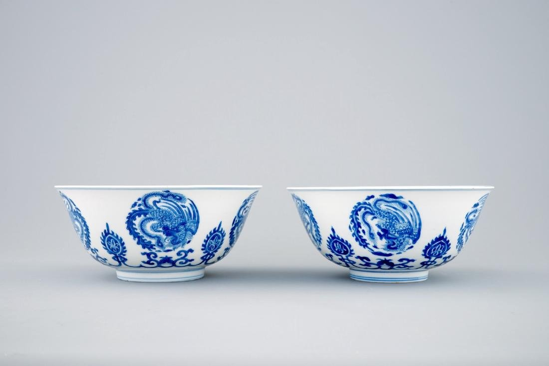 A pair of fine Chinese blue and white phoenix bowls, - 3
