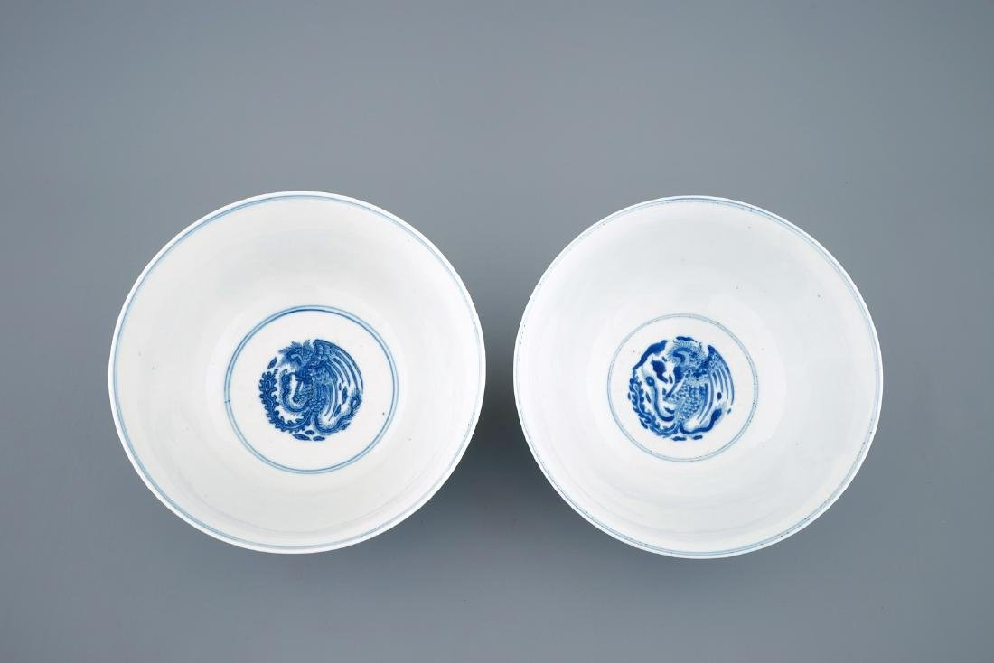 A pair of fine Chinese blue and white phoenix bowls, - 6