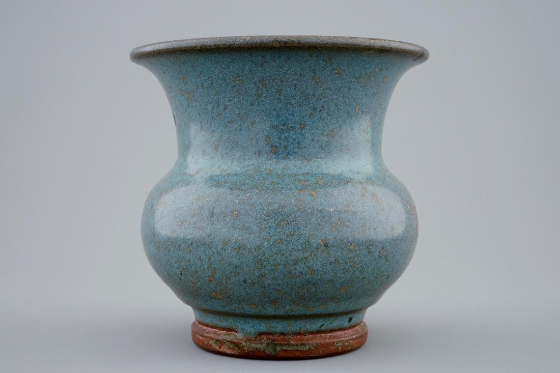 A Chinese junyao glazed vase with engraved inscription, - 5