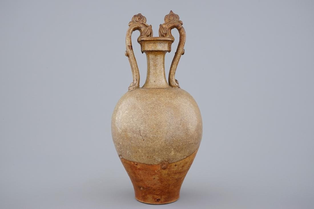 A Chinese stoneware amphora vase with dragon handles, - 3