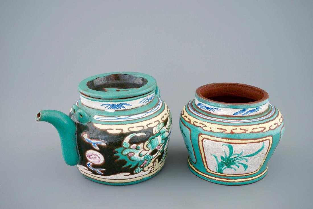 A Chinese enamelled Yixing teapot and cover with a