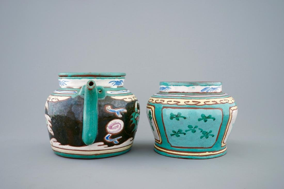 A Chinese enamelled Yixing teapot and cover with a - 2