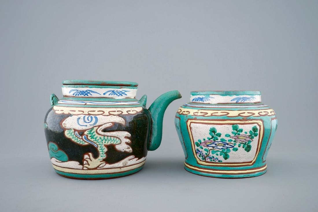 A Chinese enamelled Yixing teapot and cover with a - 3