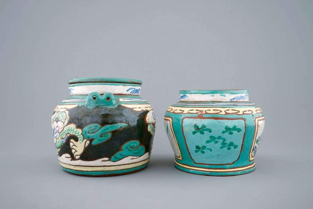 A Chinese enamelled Yixing teapot and cover with a - 4