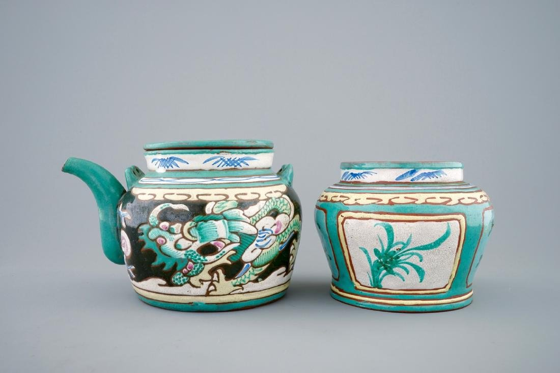 A Chinese enamelled Yixing teapot and cover with a - 5