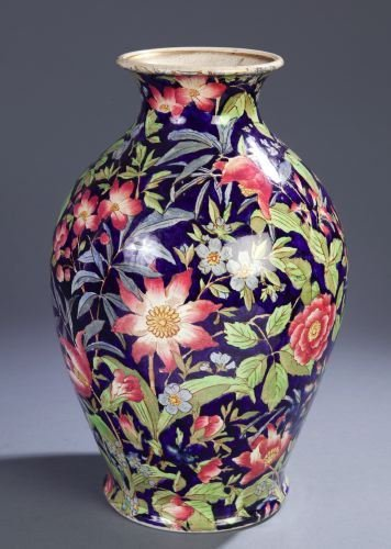 2: AN ENGLISH CERAMIC VASE The ovoid body printed with