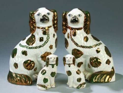 6: TWO PAIRS OF STAFFORDSHIRE DOG FIGURINES One pair o