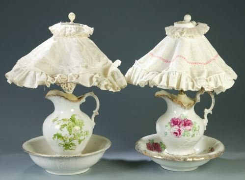 7: TWO EWER AND BASIN LAMPS Each made from a ceramic e