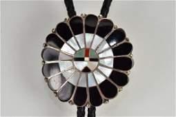 Bolo Tie wMulti color round inlay Zuni design