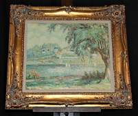 French Pastoral Oil On Canvas Ray Thomas