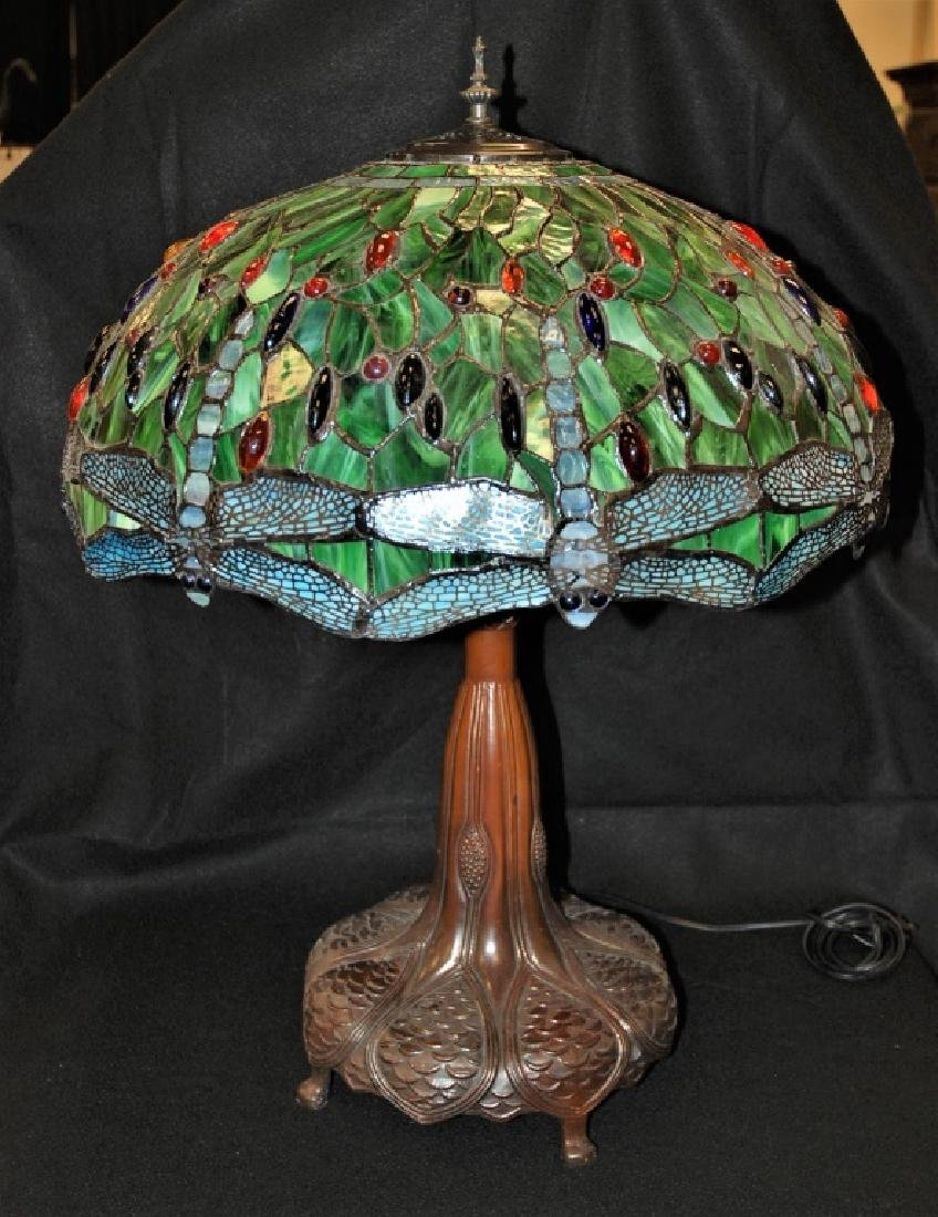 LARGE TIFFANY STYLE, DRAGON FLY LAMP