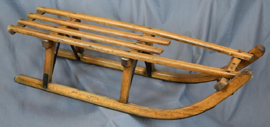 Antique German Wooden Sled With Metal Runners