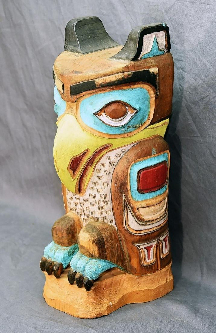 Small Native American Hand Carved Owl Totem Pole