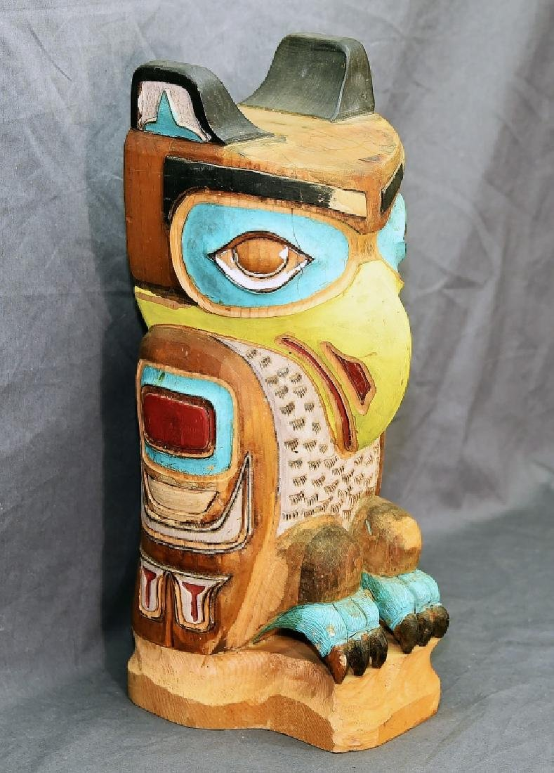 Small Native American Hand Carved Owl Totem Pole - 2