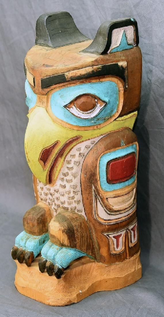 Small Native American Hand Carved Owl Totem Pole - 5