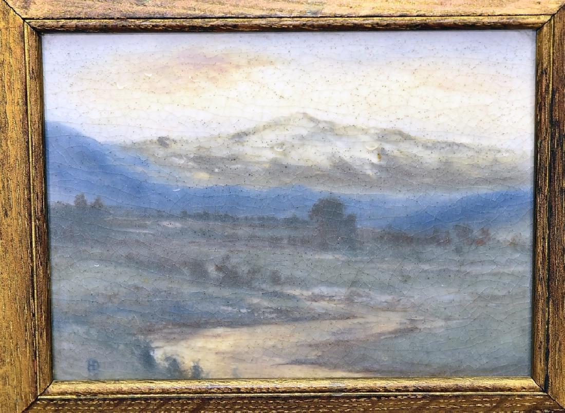 "Rookwood Vellum Plaque Tile Titled ""Rainy Day"" - 2"