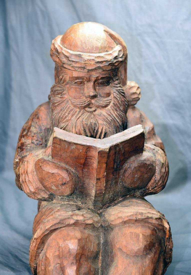 Hand Carved Large Seated Santa Paper Mache' Mold - 2