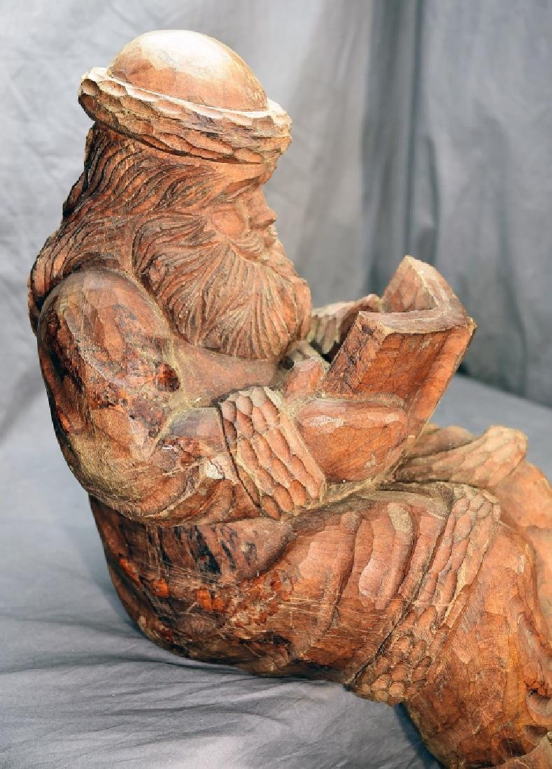 Hand Carved Large Seated Santa Paper Mache' Mold - 3