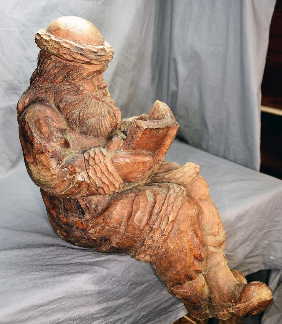 Hand Carved Large Seated Santa Paper Mache' Mold - 4