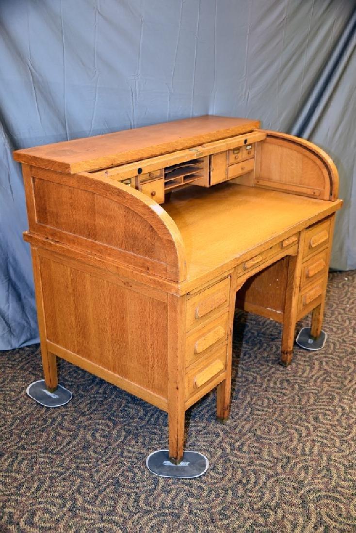 Standard Oak Rolltop Desk - 2