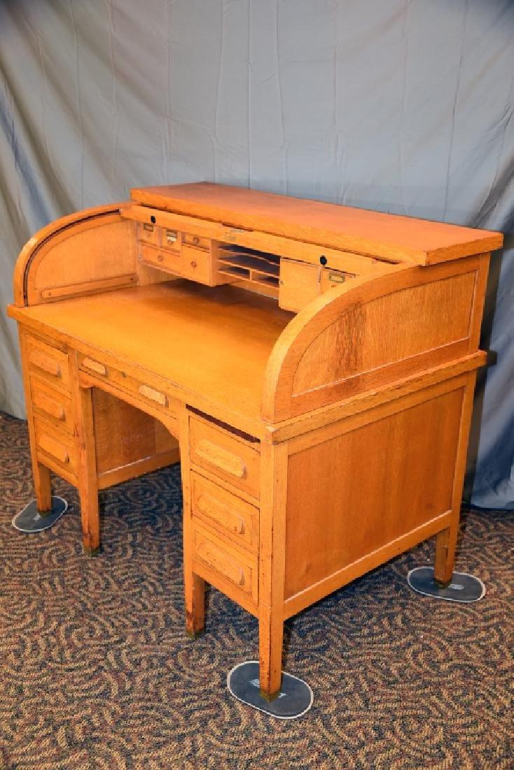 Standard Oak Rolltop Desk - 3