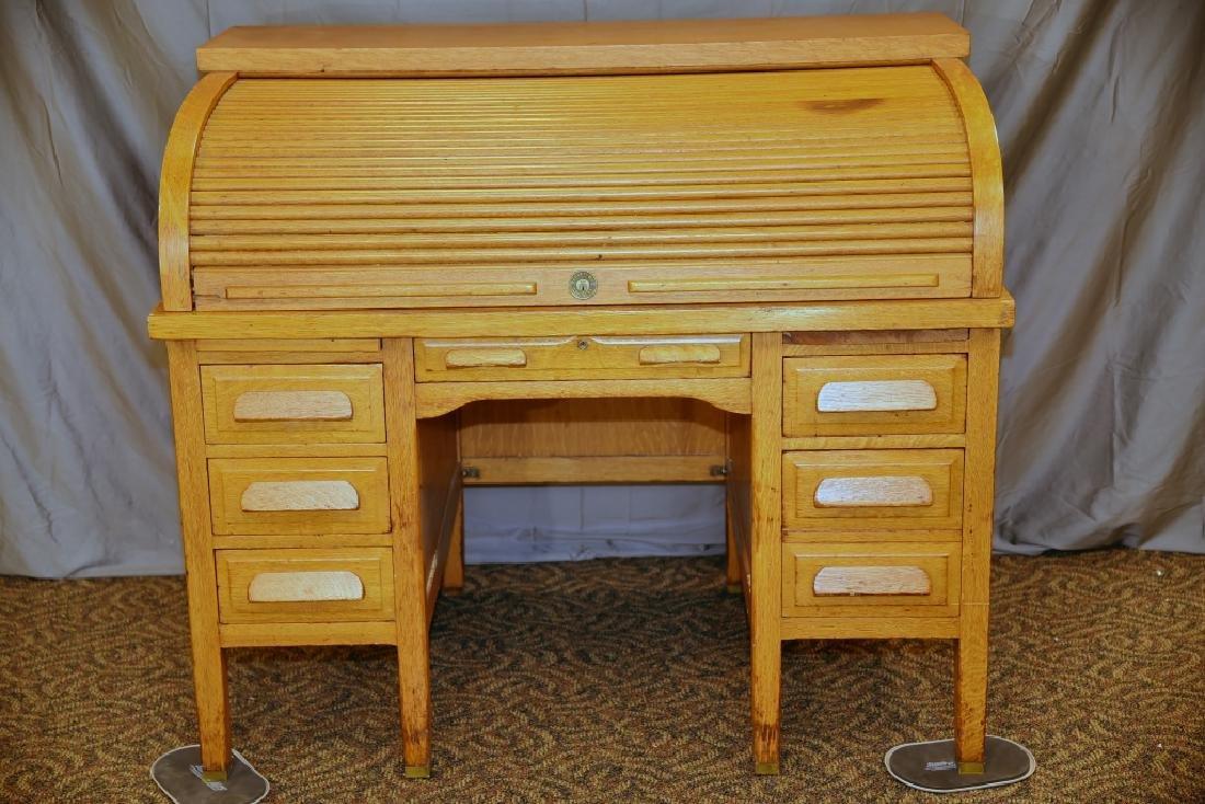 Standard Oak Rolltop Desk - 4