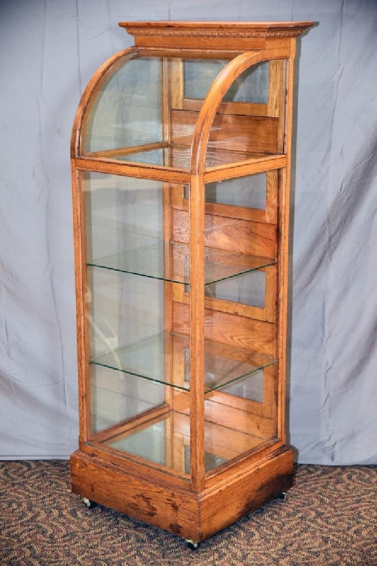 Oak Curved Glass Curved Glass Display Case - 2