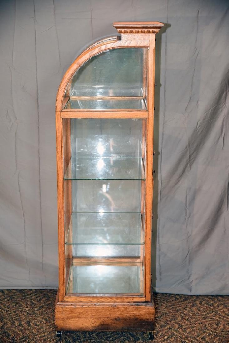 Oak Curved Glass Curved Glass Display Case - 3