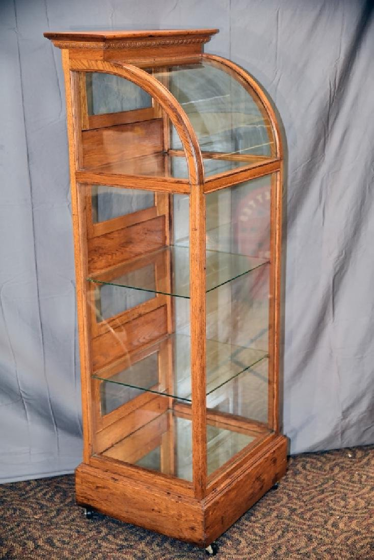 Oak Curved Glass Curved Glass Display Case - 6