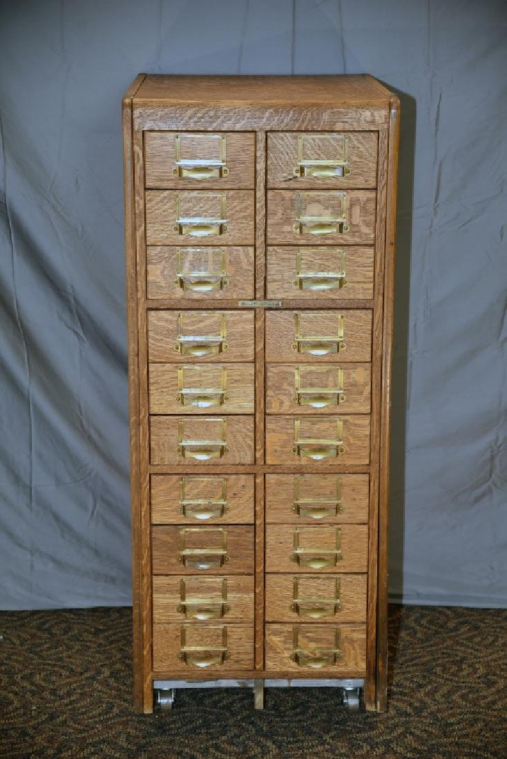 18 Drawer Quarter Sawn Oak Library Card File