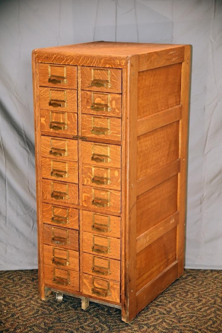 18 Drawer Quarter Sawn Oak Library Card File - 2